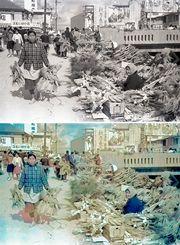 【モノクロからカラーに】正月のしめ縄売り。年の瀬の街は新年の準備を急ぐ買い物客らでにぎわった=1962年12月、那覇市のむつみ橋近く