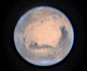 九州沖縄最大のむりかぶし望遠鏡で撮影に成功した火星の画像=28日午後10時ごろ(石垣島天文台提供)