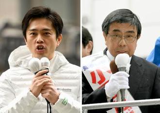 大阪府知事選が告示され、支持を訴える吉村洋文氏(左)と小西禎一氏=21日午前、大阪市