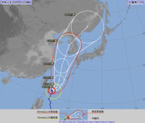 4日午前0時現在の台風13号の進路予想図(気象庁HPから)