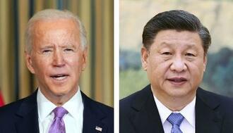バイデン米大統領(ロイター=共同)、中国の習近平国家主席(新華社=共同)