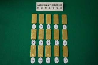 台湾籍の男女が密輸しようとした金塊15キロ=(提供)