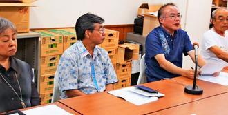 県民大会への参加を呼び掛ける「オール沖縄会議」の共同代表ら=9日、那覇市