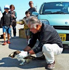 ミサゴを放鳥する大城亀信さん。見守った孫らも、野生動物の大きさに驚いた様子だったという=25日、糸満漁港北地区(橋本幸三さん提供)