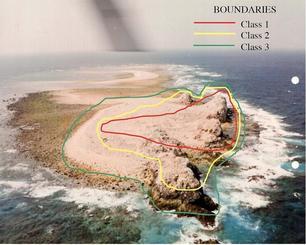 1999年の米空軍報告書に記載された図からは、米軍が鳥島の劣化ウラン汚染の危険度を最も深刻な「クラス1」から「クラス3」まで3段階に分類していたことが分かる