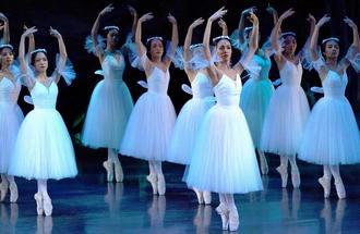 息の合った群舞を披露するジゼル・第2幕~夜の森~の出演者たち=17日、沖縄市民会館(下地広也撮影)