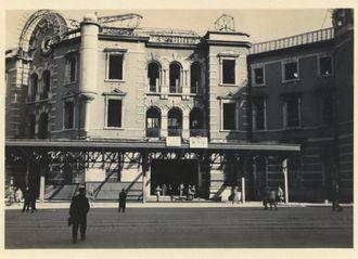 戦災からの復旧工事が始まった頃の東京駅丸の内駅舎