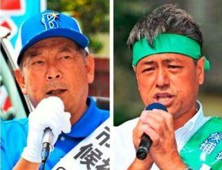 宜野湾市長選挙(右から)仲西氏と松川氏