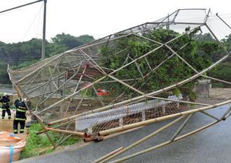 強風で倒れた南風原中学校のバックネット=29日午後、南風原町兼城(下地広也撮影)