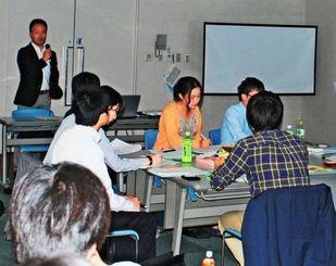 災害時の取材体制などについて考えた参加者たち=5月21日、鹿児島市・南日本新聞社