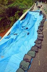 約17メートルにわたって土砂崩れが起き、ブルーシートで覆われた=17日午後1時18分、東村平良(阿部岳撮影)