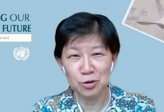 オンラインでの単独インタビューに応じる国連の中満泉事務次長(共同)