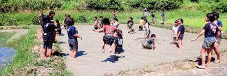 泥んこ遊びをしながら「代かき」を体験する児童ら=10日、南城市百名