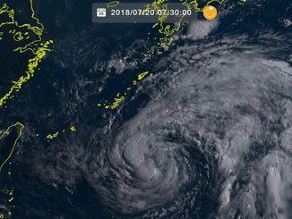 20日7時30分の台風10号(ひまわり8号リアルタイムwebから)