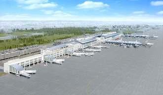 那覇空港国際線ビル(左)と国内線ビル(右)を結ぶ連結ターミナル(中央)のイメージ図(那覇空港ビルディング提供)