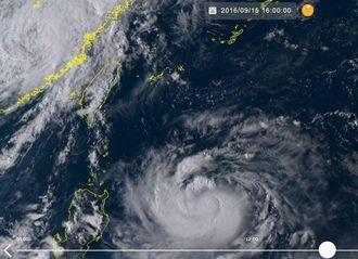 台風16号の15日午後4時の気象衛星ひまわり8号の画像(NICTひまわり8号リアルタイムWebのサイトから)
