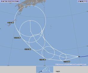 台風21号進路予想図(8月30日6時現在、気象庁HPから)