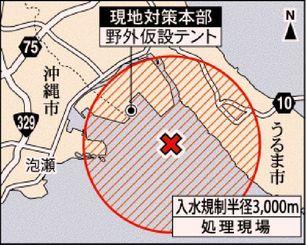 不発弾処理現場と入水規制