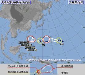 台風24号と25号の経路図(気象庁HPから)