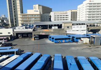 沖縄バスが長谷工に売却した旭町整備工場の土地=那覇市旭町