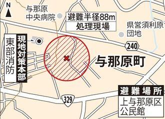 不発弾処理現場と避難場所、現地対策本部
