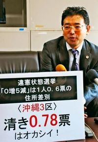 衆院選「1票の格差」一斉提訴 沖縄3区は0.77票