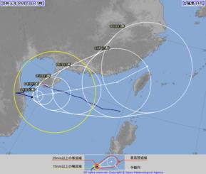 台風14号の針路予想図(気象庁HPより)