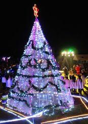 島にクリスマスを告げるイルミネーション=カママ嶺公園多目的広場