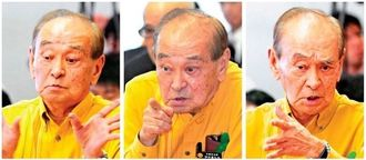 (右)百条委員会で議員の質問に厳しい表情で答える仲井真弘多知事(中)議員に質問を確認)(左)手ぶりを交えて質問をかわす場面も=21日、県議会