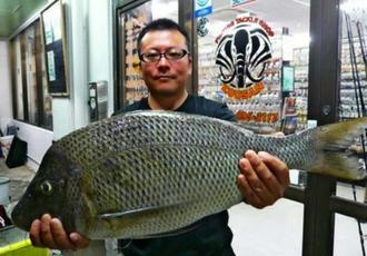 阿嘉島で70センチ、4.8キロのタマンを釣った當銘忍さん=8月29日