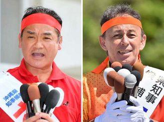 沖縄県知事選挙に立候補した(左から)佐喜真淳氏と玉城デニー氏