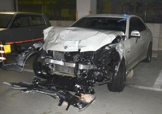 末広雅洋被告が運転して事故を起こした乗用車=2018年12月