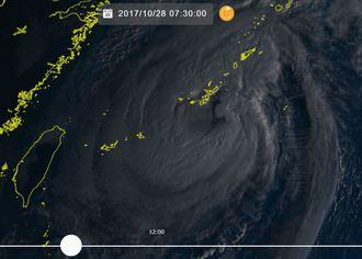 ひまわり8号リアルタイムwebがとらえた台風22号(28日7時30分現在)