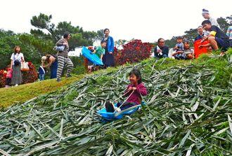 子どもたちの人気を集めた草滑り=石垣市・県立石垣青少年の家