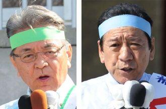 出発式で支持を訴える島袋芳敬氏(左)桑江朝千夫氏(右)