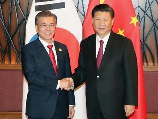 首脳会談で握手する韓国の文在寅大統領(左)と中国の習近平国家主席=11日、ベトナム・ダナン(聯合=共同)