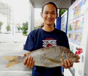 糸満海岸で57.6センチ、2.25キロのタマンを釣った座波篤史さん=1日