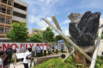 ヘリ墜落から12年となり沖縄国際大学で開かれた「語りつぐ集い」=13日午後、宜野湾市