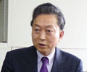 南西諸島への自衛隊配備に反対を表明する鳩山由紀夫元首相=29日午後、県庁