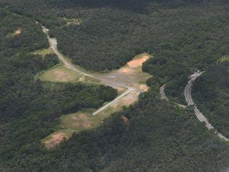 東村高江の米軍北部訓練場内に建設されたヘリパッド=2015年7月