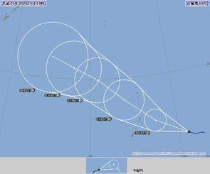 台風18号の5日後までの進路予報(気象庁HPから)