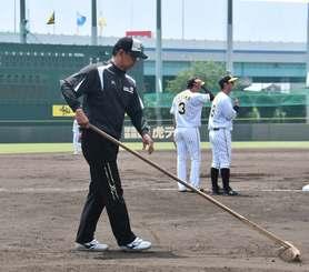 2軍の試合前にグラウンド整備する渡真利克則さん=兵庫県西宮市・阪神鳴尾浜球場