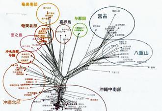 狩俣繁久教授らが作成した琉球語の言語系統樹
