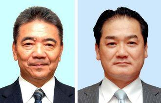 宜野湾市長選挙に立候補した佐喜真淳氏(右)と志村恵一郎氏(左)