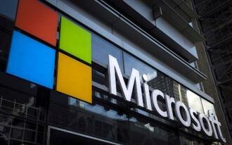 マイクロソフトのロゴ=2015年7月、ニューヨーク(ロイター=共同)