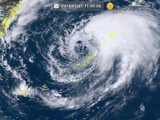 21日11時の台風10号(ひまわり8号リアルタイムwebから)