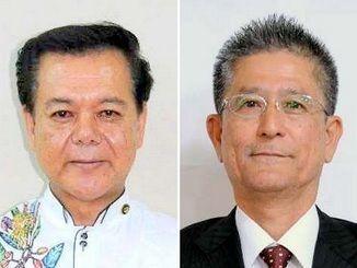 南城市長選挙に出馬した古謝景春氏(左)と瑞慶覧長敏氏