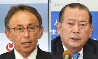 玉城知事(左)と松川宜野湾市長