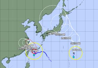 台風8号(右)の位置=23日午後9時現在(気象庁のHPから引用)