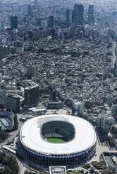 東京の空撮。手前は国立競技場